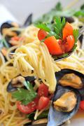 Stock Photo of spaghetti with reef mussels