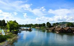 Beautiful river kwai in kanchanaburi province, thailand Stock Photos