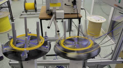 Automatic fiber optic cable cutting machine - stock footage