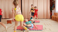 Preschoolers while jogging on sports training Stock Footage