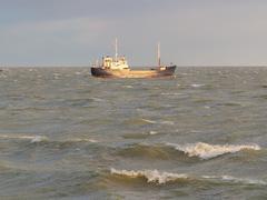 small coastal vessel in the waters of the dutch ijsselmeer - stock photo