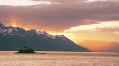 Alaskan Ferry Inside Passage Sunset Lighthouse Island Stock Footage