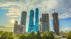 Moscow sky-scrapers sunset,clouds timelapse,RAW VIDEO:6K,4K & 1080p resolution Stock Footage