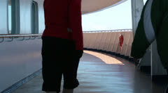 Three women walking for exercise cruise ship deck HD 7827 Stock Footage