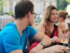Young unhappy couple on bad date in cafe NTSC Stock Footage