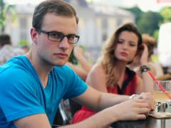 Stock Video Footage of Relationship difficulties, couple sitting in cafe NTSC