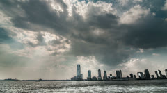 Stock Video Footage of New Jersey Skyline - NJ Hudson River Water Boat Storm Clouds Skyscrapers