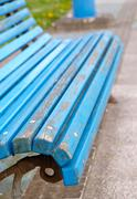 blue bench detail - stock photo