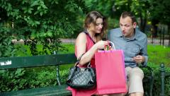 Glamour woman spend too much money of her boyfriend HD Stock Footage