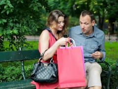 Glamour woman spend too much money of her boyfriend NTSC - stock footage