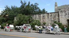Row of horse and carriages at san antonio, texas, usa Stock Footage