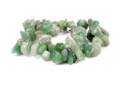 Necklace from aventurine on white background - semiprecious gem used for jewe Stock Photos