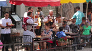 Stock Video Footage of mariachi band plays for tourists at restaurants on san antonio riverwalk