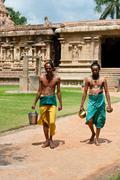 Hindu brahmins with religios attributes Stock Photos