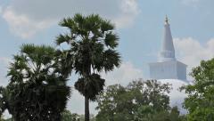 Landmarks in sri lanka - a great white stupa - dagoba Stock Footage