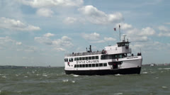 "Boat tour to the Statue of Liberty & Ellis Island. ""Statue Cruises"", NYC Stock Footage"