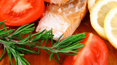 Savory fish portion : grilled norwegian salmon fillet Stock Footage