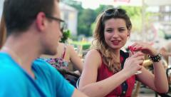 Happy young couple on date in cafe HD - stock footage
