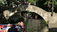 Stock Video Footage of tourists taking a boat ride along the san antonio riverwalk, texas, usa