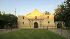 timelapse of tourists visiting the alamo, san antonio, texas, usa - stock footage