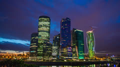 Moscow sky-scrapers late evening timelapse, RAW VIDEO:6K,4K & 1080p resolutions Stock Footage