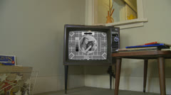 BBC Test card on old TV (black and white) Stock Footage