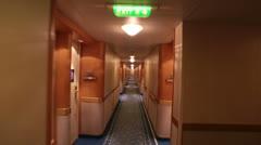 Walking cruise ship inside corridor POV HD 7758 Stock Footage