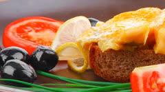 Served roast golden fish fillet Stock Footage