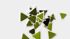 Green plastic triangles card mosaics flying,abstract math geometry. Stock Footage