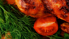Poultry : homemade roast turkey with vegetables Stock Footage