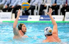 Slovenian waterpolo player Matej Nastran of CN Sabadell - stock photo