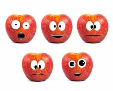 funny fruit character red apples on white background - stock photo