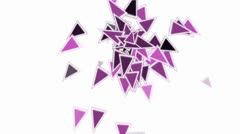 Purple plastic triangles card mosaics flying,abstract math geometry. Stock Footage