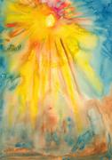 sun and sunlight - watercolor painting - stock illustration