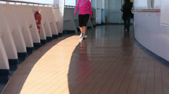 Woman exercise walking cruise ship dock HD 7821 Stock Footage