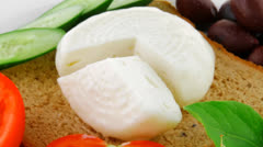 Low fat mozzarella on white Stock Footage