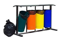 trash containers for separate collection of waste - stock photo
