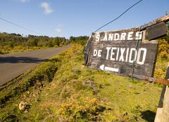 Sign indicating the direction of san andres de teixido Stock Photos