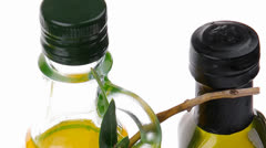 Oil and olives on white Stock Footage