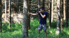Father and son with optical rifle in the woods episode 9 Stock Footage