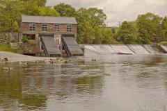 The hydro electric plant at linton falls on the river wharfe Stock Photos