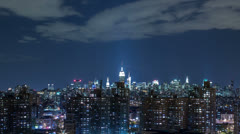 Timelapse of New York City Skyline at night - skyscrapers in Manhattan Stock Footage