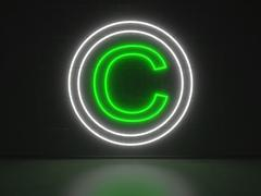 copyright sign - series neon signs - stock illustration