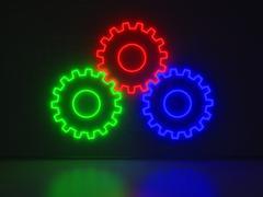gears - series neon signs - stock illustration