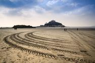 Stock Photo of st michael's mount bay marazion low tide amphibious ferry boat tracks cornwal