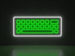 keyboard - series neon signs - stock illustration