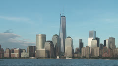 Freedom Tower and Lower Manhattan Skyline 3 Stock Footage