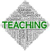 teaching concept in tag cloud - stock illustration