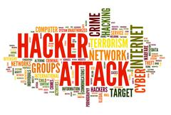 hacker attack in word tag cloud - stock illustration