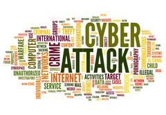 cyber attack in word tag cloud - stock illustration